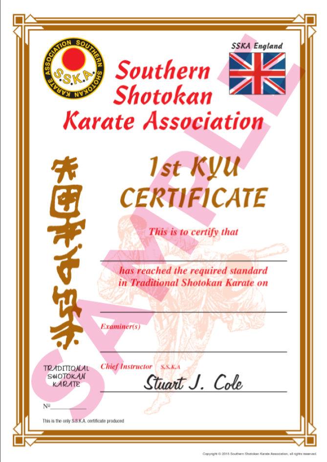Sample certificates southern shotokan karate association sample certificates yadclub Choice Image