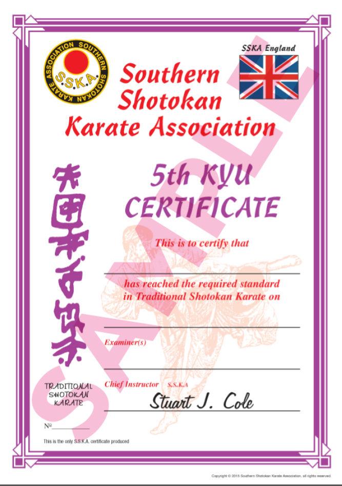 Sample Certificates Southern Shotokan Karate Association
